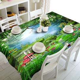 3D Green Trees Red Mushroom and Sunflowers Printed Fantastic Scenery Home Table Cover