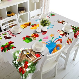 3D Christmas Gifts Festival Feast Printed Thick Polyester Durable and Oil-Proof Table Cloth