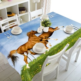 3D Two Running Horses Printed Animal Scenery Home Party Oil-Proof Table Cloth Cover