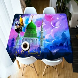 Grand Castles and Colorful Sky Thick Polyester Abstract Style 3D Home Table Cloth