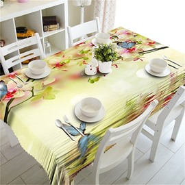 3D Beige Flowers and Colorful Butterflies Printed Thick Polyester Square Tablecloth