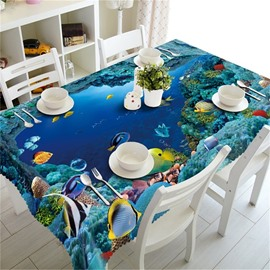 3D Golden Fishes and Corals Printed Happy Undersea World Party and Home Table Cloth