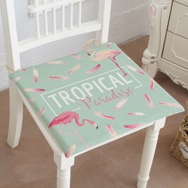 15×15in Flamingos and Tropical Paradise Pattern Green Square Cotton Chair Cushion