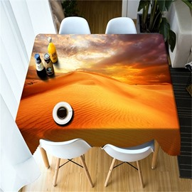 3D Golden Desert Printed Grand Scenery Thick Polyester Hotel and Outdoors Table Cloth