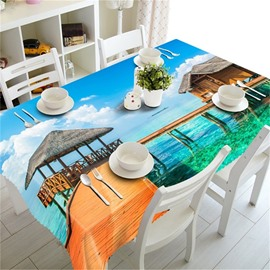 Blue Sea and Wooden Bridge with Wooden Pavilion Thick Polyester 3D Table Cloth