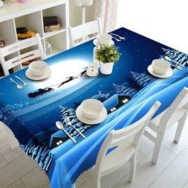 3D Blue Night Scenery Printed Concise and Modern Style Table Cover
