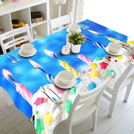 3D Stars Cakes and Wishing Candles Printed Thick Polyester Table Cloth