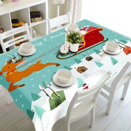 Kindly Santa Claus with Running Deer Printing Home and Hotel 3D Table Cloth