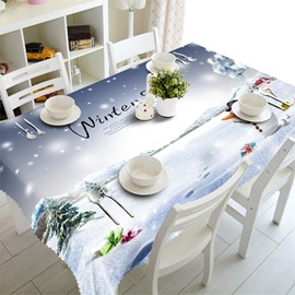 3D Snowman with Wonderful Winter Scenery Printed Home and Party Table Cover