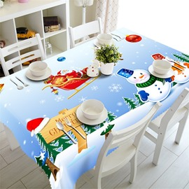 Lovely Snowmen and Christmas Decorations Thick Polyester Home and Hotel Table Runner Cover