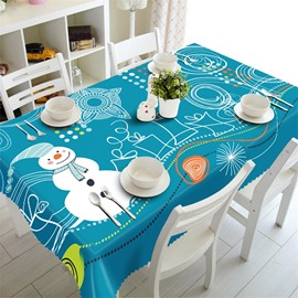 3D White Snowman With Irregular Graphics and Blue Background Printed Table Runner