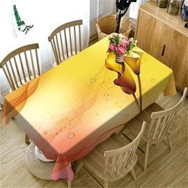 Fluent Music Notation and Golden Flowers Printing Dinning Table Cover Cloth