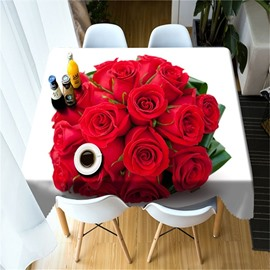 3D Romantic A Bouquet of Red Roses Printed Modern Table Runner Cover Cloth
