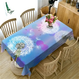 3D Purple Dandelions Fling Printed Romantic and Fresh Style Table Cover