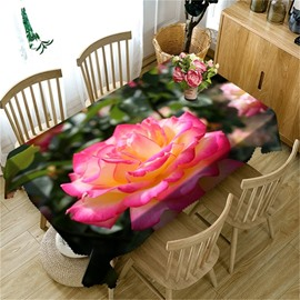 Bright and Fresh Pink Rose Printing Thick Polyester Oil-Proof and Decorative Table Cover
