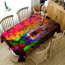 3D Mysterious Bright Colored Water-Eroded Cave landscape Printed Table Cover