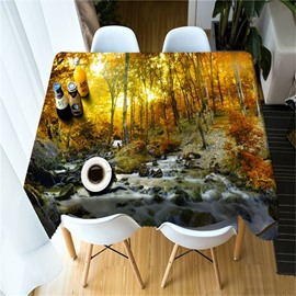 Golden Yellow Trees and Flowing River Printing Home and Hotel Table Cover