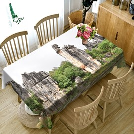 3D High Stone Mountains and Green Forest Printed Durable Table Cloth