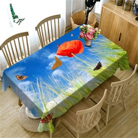 3D Blue Sky and Red Peony with Green Wheat Printed Versatile Table Cloth