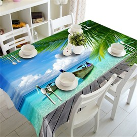 Blue Sea and Wooden Boats Wonderful Beach Scenery Decorative Table Cloth