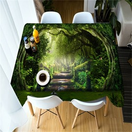 3D Thick Forest and Wooden Road Printed Decorative and Durable Table Cloth