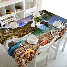 High Mountains and Blue Sea Water Printing Durable and Decorative Table Cloth