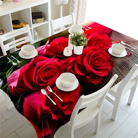 3D Vivid Red Rose Printed Romantic Style Hotel Table Runner Cover Cloth