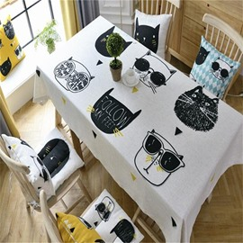Cute and Lovely Cartoon Cats Printing Thick Cotton Square Table Cover Cloth