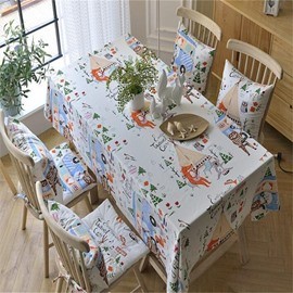 Lovely and Cute Foxes Cotton Blending Printing Table Runner Cover Cloth