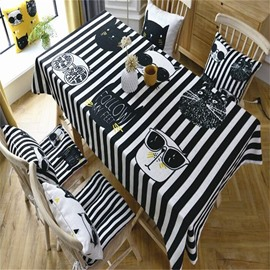 Cool Cats with Black and White Stripes Printing Cartoon Style Square Table Cloth