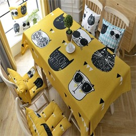Yellow Polyester Cotton Printing Cartoon Style Decorative and Durable Table Cover Cloth