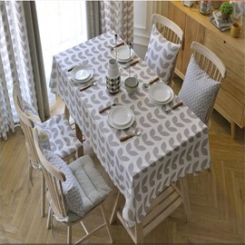 Gray Polyester Cotton with Heart-Shaped Patterns Printing Home Dining Table Cloth