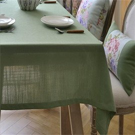 Solid Green Polyester Cotton Modern and Fresh Style Dining Table Cover