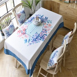 Blue and White Flower Rings Printing Thick Cotton Square Home Table Cover Cloth