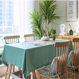 Vivid Flowers and Green Cloth Printing Elegant and Pastoral Home and Party Table Cloth