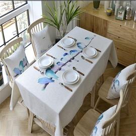 Water Color Printing Birds and Branches Pastoral Style Square Table Cover Cloth