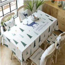 Green Cypress and Cute Elks Printing Fresh Style Table Runner Cover Cloth
