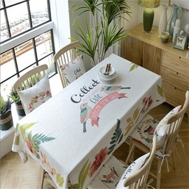 Lovely Birds and Beautiful Flowers Polyester Blending Kitchen Square Table Cover