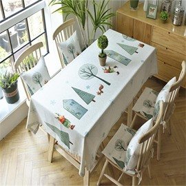 Cartoon Deer and Trees with House Printing Fresh and Modern Table Cover Cloth