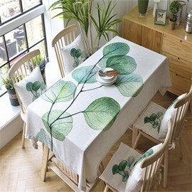 Vivid and Fresh Green Leaves Printing Pastoral Style Table Runner Cloth
