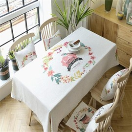 Fresh and Pastoral Floral Rings Printing High Quality Table Cover Cloth