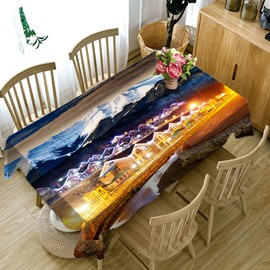 3D Snow Mountain and Night Village Scene Printed Thick Polyester Table Cover Cloth