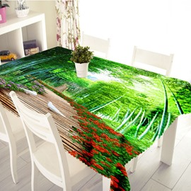 3D Bamboo Road and Pigeon Printed Thick Polyester Table Cover Cloth