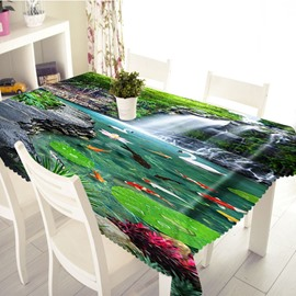 3D Waterfalls and Goldfish Printed Thick Polyester Table Cover Cloth