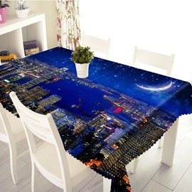3D Night City View and Galaxy Printed Thick Polyester Table Cover Cloth