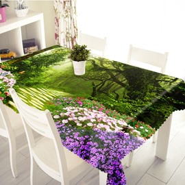 3D Flower Path and Butterflies Printed Thick Polyester Table Cover Cloth