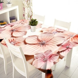 3D Vivid Pink Blossom Petals Printed Thick Polyester Table Cover Cloth