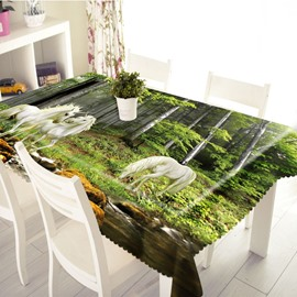 3D White Horses Wandering in Forest Printed Thick Polyester Table Cover Cloth