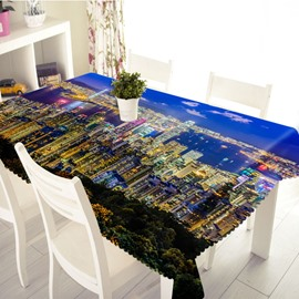 3D Beautiful City Night View Printed Thick Polyester Table Cover Cloth