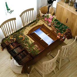 3D Elaborate Book Room with Open Door Printed Thick Polyester Table Cover Cloth